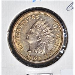 1863 INDIAN HEAD CENT  GEM BU