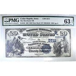 1882 $20 NATIONAL CURRENCY  PMG 63 EPQ