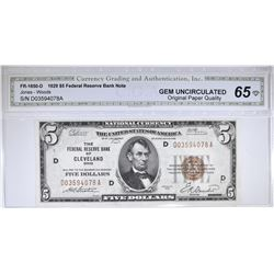 1929 $5  NATIONAL CURRENCY  CGA 65 OPQ