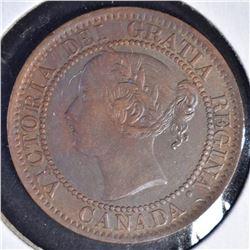 1859(NARROW 9) ONE CENT CANADA  CH BU