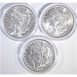 1886 & 2 1881-S MORGAN DOLLARS BU