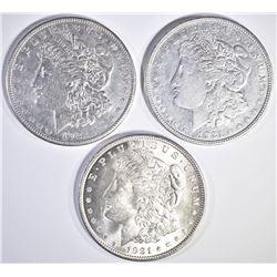 1921-P,D,S MORGAN DOLLARS CIRC