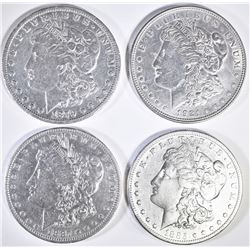 4 CIRC MORGAN DOLLARS 1885-S, 87-O, 79, 21