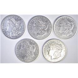 5 CIRC MORGAN DOLLARS 87-O, 85-S, 04-0, 90-O, 89