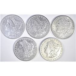 5 MORGAN DOLLARS 1881, 2 1885-S, 91,  21