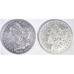 1878-S AU/BU & 1885-S VF MORGAN DOLLARS