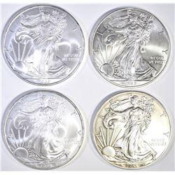 4 SILVER EAGLES 2 2008, 2 2015