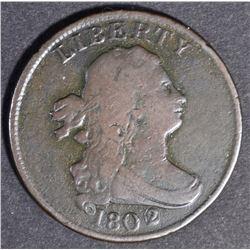 1802/0 DRAPED BUST HALF CENT  FINE  RARE