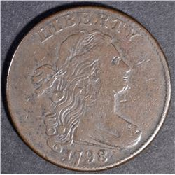 1798 DRAPED BUST LARGE CENT  CHOICE VF