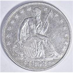 1853 SEATED HALF DOLLAR  A/R AU