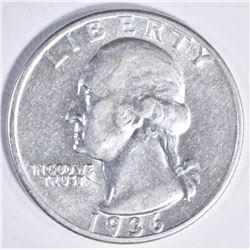 1936 D WASHINGTON QUARTER AU/BU