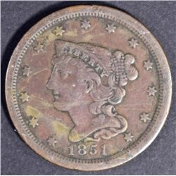 1851 HALF CENT  VF
