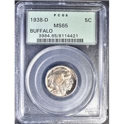 1938-D BUFFALO NICKEL;, PCGS MS-65 OLD GREEN LABEL