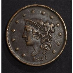 1837 LARGE CENT N-8 XF
