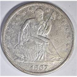 1867-S SEATED HALF DOLLAR, XF/AU