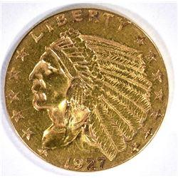 1927 $2.50 GOLD INDIAN, CH BU