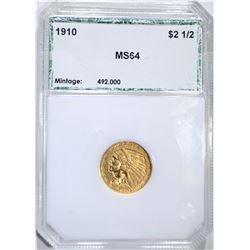 1910 $2.50 INDIAN GOLD PCI GEM BU