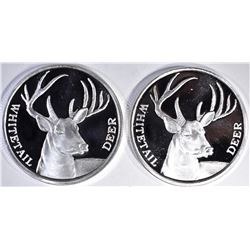 2-WHITETAIL DEER ONE OUNCE .999 SILVER BARS