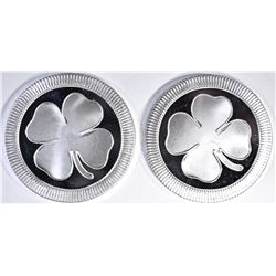 2-4 LEAF CLOVER ONE OUNCE .999 SILVER ROUNDS