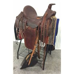 Antique 14 1/2''  Loop Seat Saddle With Bull-nosed