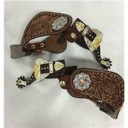 Pair Ladies Spurs With Straps