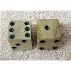 Pair Hand Carved Bone Cowboy Dice