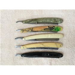 Collection Of 5 Rare Fancy Handle Straight Razors