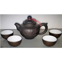 Rare And Fine Yixing Chinese Teapot & 4 Cups
