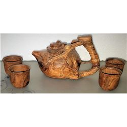 Finely Carved Wood (jichimu) Teapot & 4 Cups