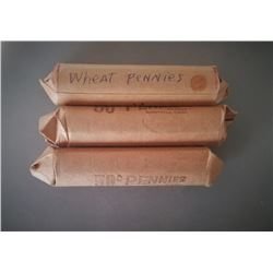 3 Rolls Of Mixed Wheat Pennies