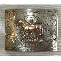 Sterling Silver Belt Buckle W/10k Gold Horse