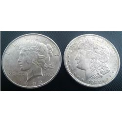 1922 Peace Dollar And 1921 Morgan Dollar