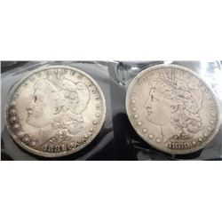 1880 And 1881 Morgan Silver Dollars