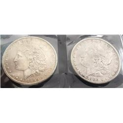 1890 And 1900 Morgan Silver Dollars