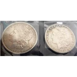 1886 And 1887 Morgan Silver Dollars