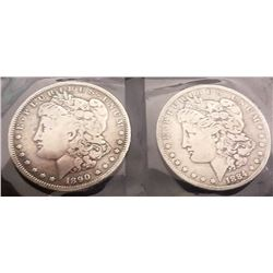 1890 And 1884 Morgan Silver Dollars