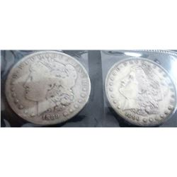 1889 And 1890 Morgan Silver Dollars
