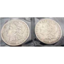 1890 And 1891 Morgan Silver Dollars
