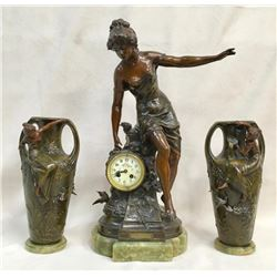 Fantastic 3pc French Bronze Figural Clock Set