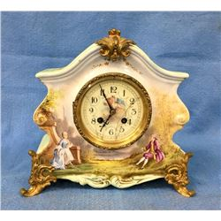 Antique French Porcelain Mantle Clock