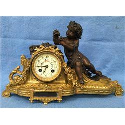 Bronze Cherub Figural Clock