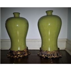 20th Century Bronze Mounted Porcelain Vases Signed