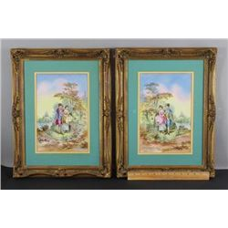 Antique French Porcelain Painting Limoges Plaques