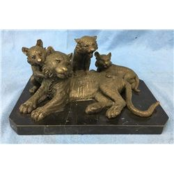 Bronze Lioness With Cubs