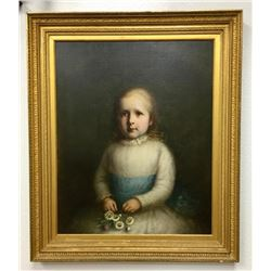 Early Oil Painting On Board Of Child