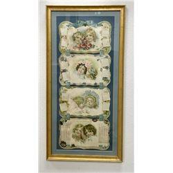 Rare Framed Antique 2 Century Calendar
