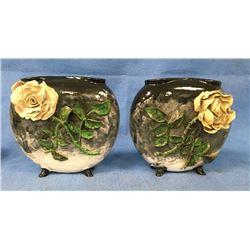 Two Victorian Majalica Pillow Vases