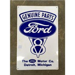Ford V8 Tin Advertising Sign