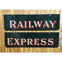 Original Railway Express 2pc Porcelain Sign