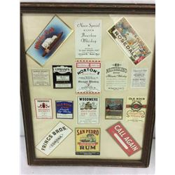 Framed Collage Pre 1950's Cigar & Alcohol Labels
